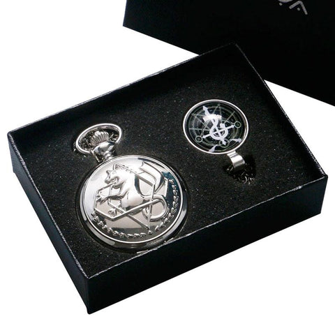 Pocket Watch - Silver Alchemist Quartz Pocket Watch Gift Box Set