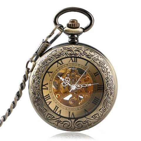 Automatic Mechanical Bronze Pocket Watch