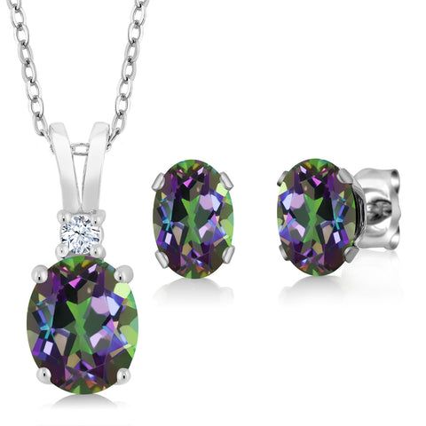3.55 Ct Fire Mystic Topaz and Sterling Silver Fine Jewelry Set