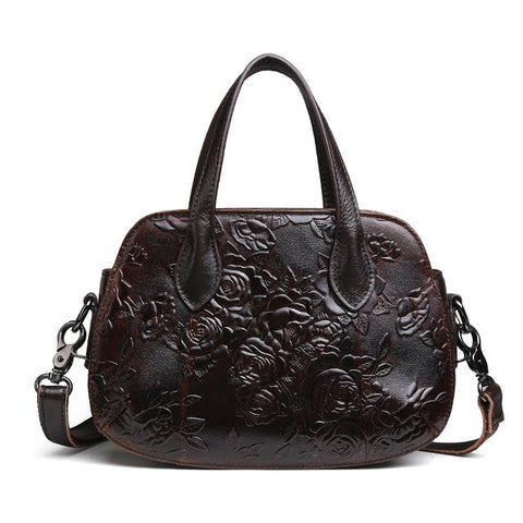 Genuine Embossed Leather Vintage Bag