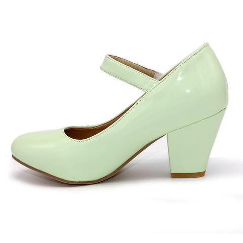 Square Heel Jane Pumps