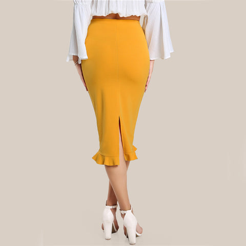 Yellow Ruffled High Waist Pencil Skirt