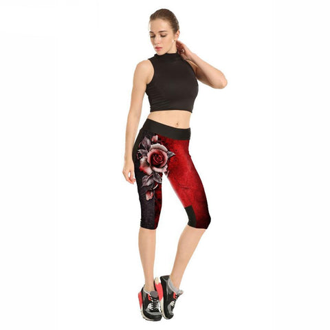 3D Red Rose Push-Up High Waist Capris Leggings