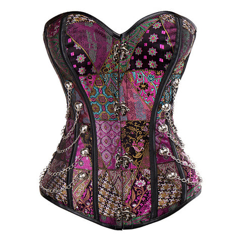 Patchwork Waist Training Strapless Corsets