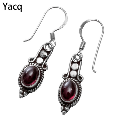 925 Sterling Silver Garnet Dangle Drop Earrings