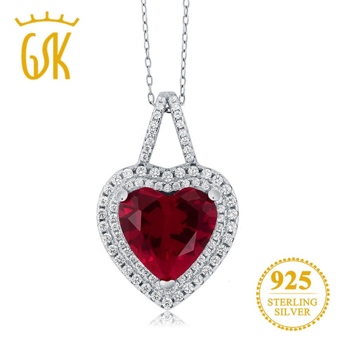 925 Sterling Silver Fine Jewelry 12mm Created Heart Ruby Pendant Necklace