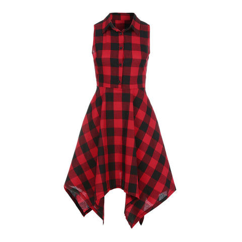 Sleeveless Red Plaid Dress