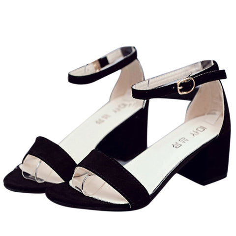 Ankle Strap Low Chunk Heel Sandals