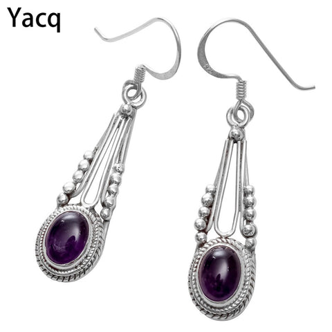 925 Sterling Silver Amethyst Dangle Earrings