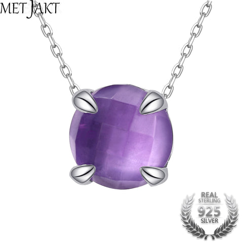 Natural Amethyst Pendant Necklace Solid Sterling Silver