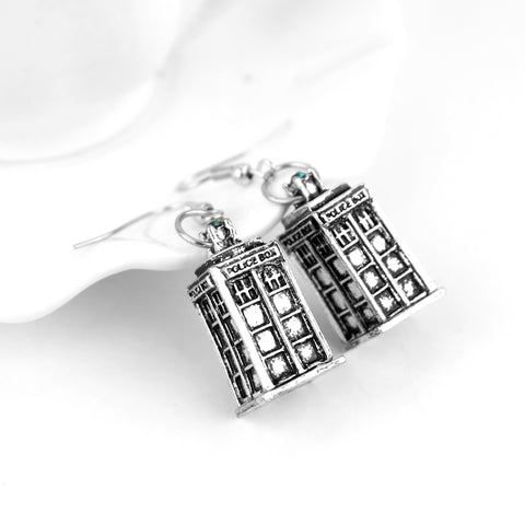 Police Box Drop Dangle Earrings