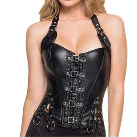 Adjustable Black Leatherette Halter Corset