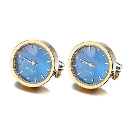 Watch Cufflinks, Blue Face W/Gold Or Silver Casing