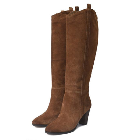 Womens Boots - Women's Suede Knee High High Heel Knee High Cowboy  Boots