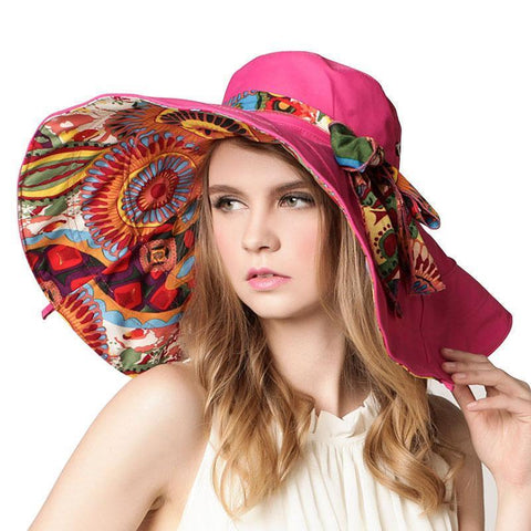 Womens Hat - [AETRENDS]  Foldable Brimmed Sun Hat
