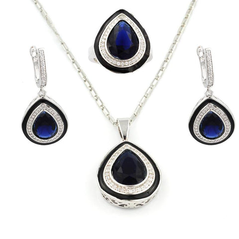 Womens Jewlery Set - Sterling Silver & Blue Topaz Jewelry Set
