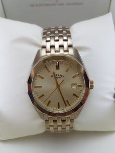 Gold Rotary watch with date