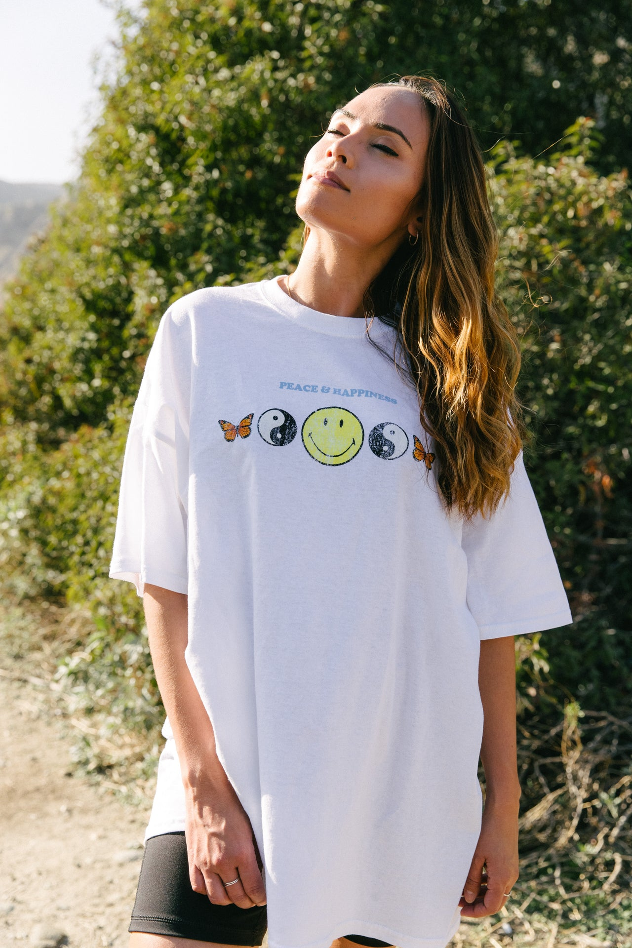 Smiley Peace and Happiness Dad Tee - Desert Dreamer