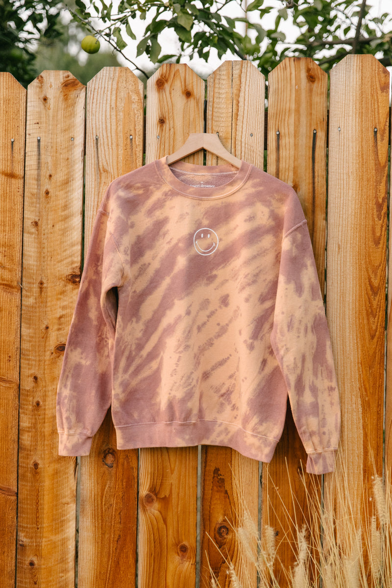 Desert Dreamer - Smiley Rose Tie-Dye Crewneck