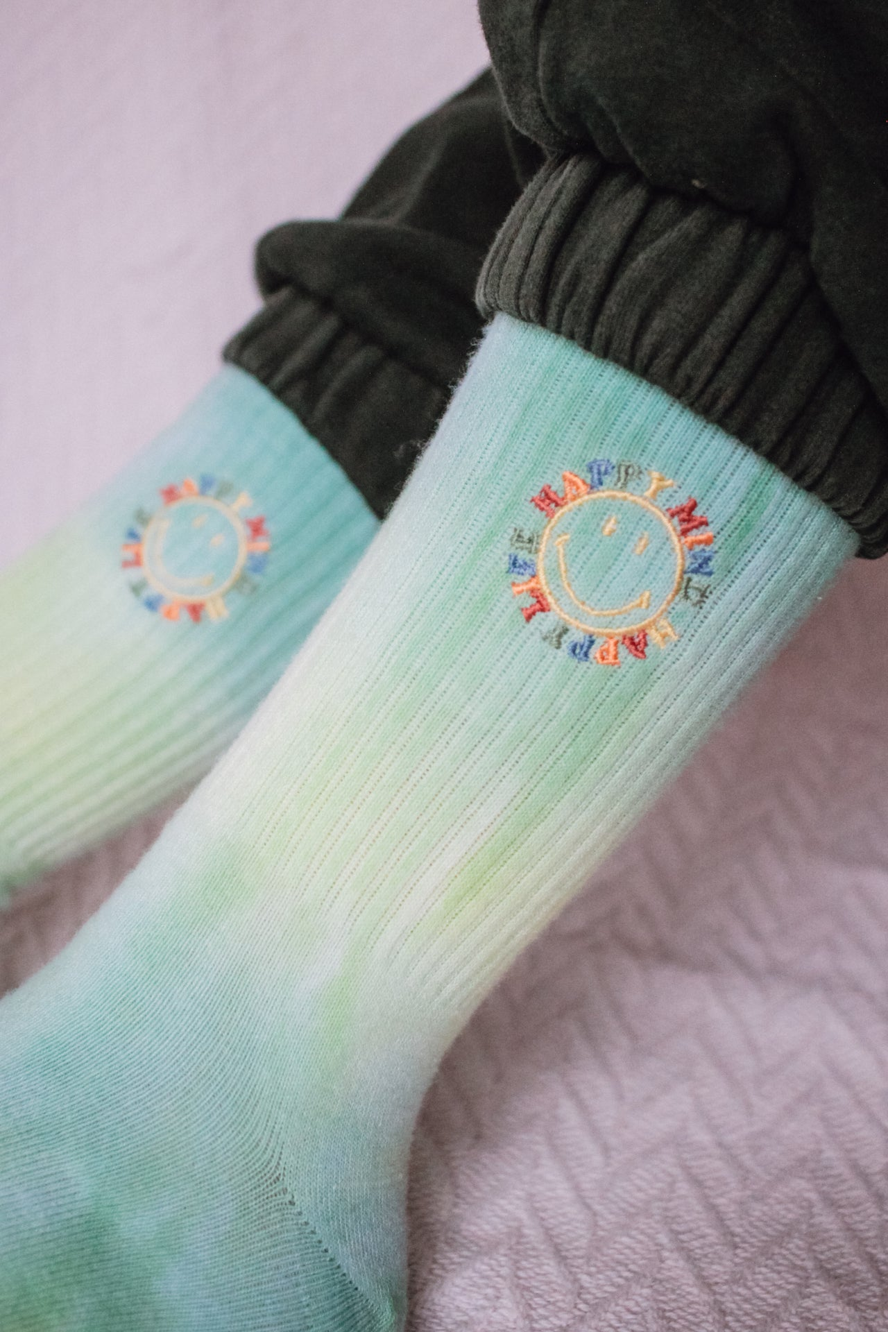 Smiley Happy Mind Tie-Dye Socks - Desert Dreamer