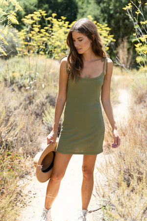 Sage Ribbed Dress Thumbnail - Desert Dreamer