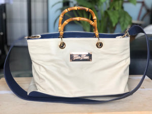 Cream and Navy Handbag
