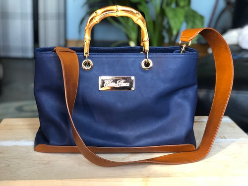 Navy and Tobacco Handbag