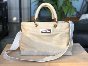 Cream and White Handbag
