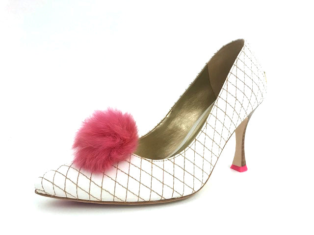 Rabbit Fur Pom Pair - Dark Pink