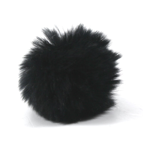 Rabbit Fur Pom Shoe Accessory-Black