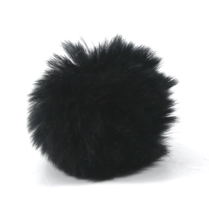 Rabbit Fur Pom Pair - Black