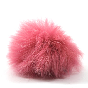Rabbit Fur Pom Pair - Pink
