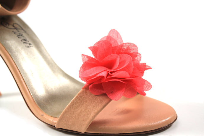 Flower Shoe Clips - Coral