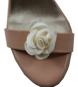 Satin Rose Shoe Accessory Ivory