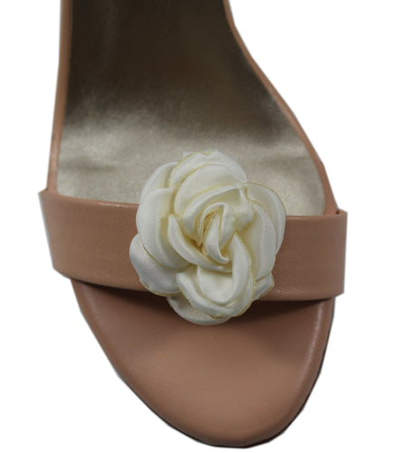 Satin Rose Shoe Accessory- White
