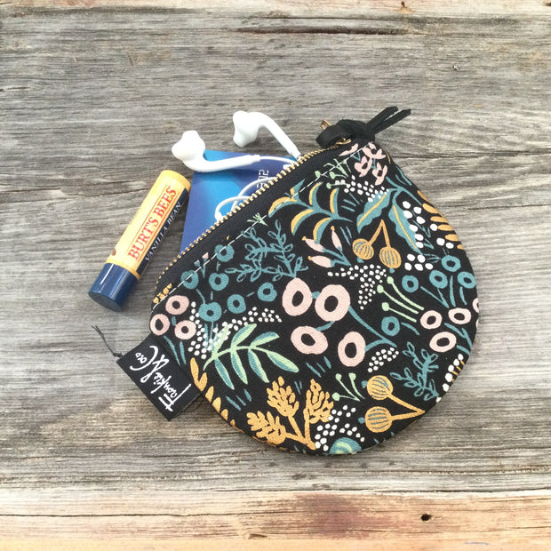 Midnight Garden - Half Moon Zip Pouch