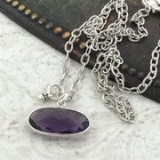 Dusky/Oval Amethyst Silver Necklace