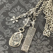 Turley/Sterling Charm Cluster Silver Necklace