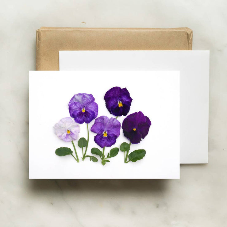 Purple Pansies Card by Bottle Branch