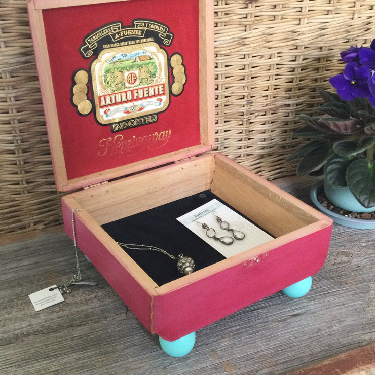 Raspberry with Yellow Rosebud Upcycled Cigar Box by lydeen