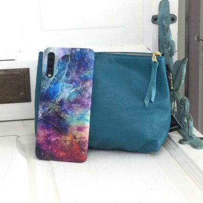 Martin/Teal-Leather ZIp Bag by ZIna Kao