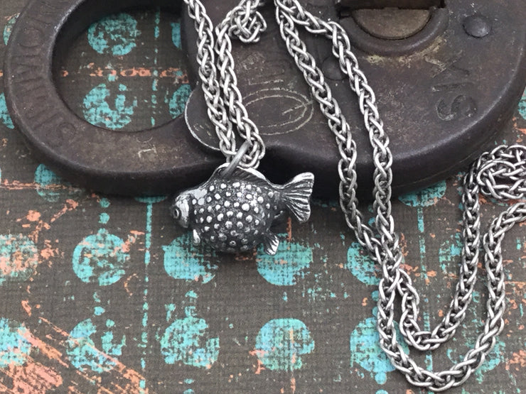 Poppy/Handmade Pewter 3D Fish Charm Silver Necklace