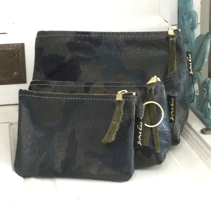 Martin/Green Camo-Leather Zip Bag by ZIna Kao