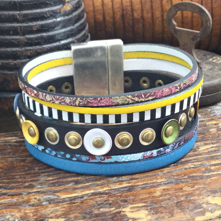 LE145/Multi-Colored Enamel Stud Flat Leather Multi-Strand Magnetic Clasp Cuff 8""