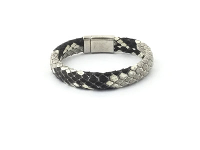 Ponte/Python Leather Domed Leather Magnetic Clasp Bracelet