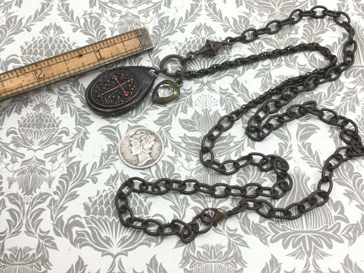 Casie/Double Sided Darkened Soldered Cross Necklace