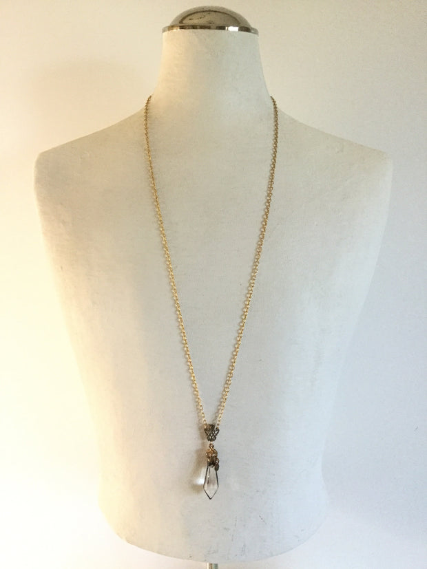 Lio/Artisan-made Soldered Crowned Crystal Prism Pendant Gold Necklace