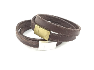 Jordy/Thick Flat Distressed Brown Leather Double Wrap Magnetic Clasp Bracelet