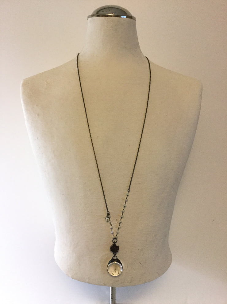 Penta/Artisan-made Dandelion Seed Crystal Opal Gunmetal Necklace
