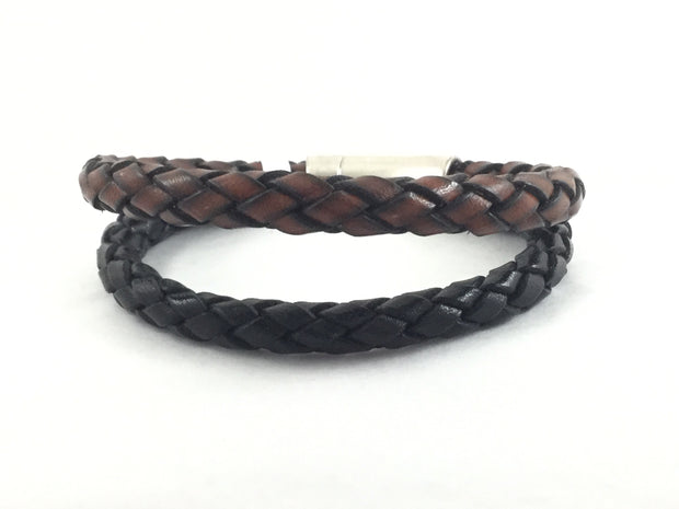 Brody/Round Braided Leather Magnetic Clasp Bracelet